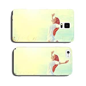 Beauty model girl in white dress jumping on summer field cell phone cover case Samsung S5