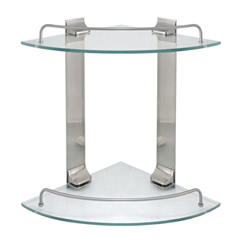 (MODONA Double Corner Glass Shelf with Rail - Satin Nickel - 5 Year Warrantee)