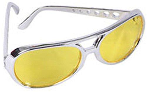 Yellow Lens Silver Frame Elvis Aviator Rocker -
