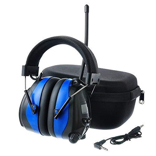 PROTEAR Bluetooth Noise Reduction Wireless Earmuffs AM FM Digital Radio with Rechargeable Lithium Battery, NRR 25dB Professional Ear Hearing Protection Electronic Headphones with a Carrying Case ()