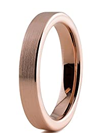 Tungsten Wedding Band Ring 4mm for Men Women Comfort Fit 18K Rose Gold Plated Pipe Cut Flat Brushed Polished