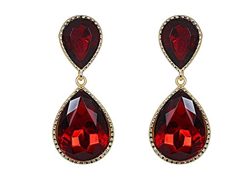 Crunchy Fashion Stylish Bollywood Jewelry Maroon Crystal Dual Droplet Drop and Dangle Earrings for Women]()
