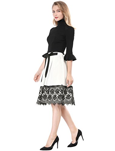 White A Contraste Xs Ligne Sous Jupe Femme Allegra Ourlet Cravate Genou Lacet K Blanc qxWZw1Oa