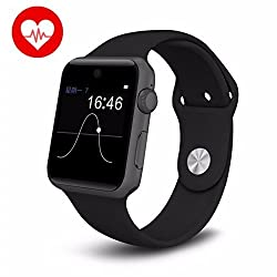 Smart Watch Kkcite Bluetooth 4.0 Smartwatch Phone With SIM 2G GSM for All Iphones and Android Smartphones Support Sleep Monitor, Push Message, Camera Unlocked Watch Men Women Kids