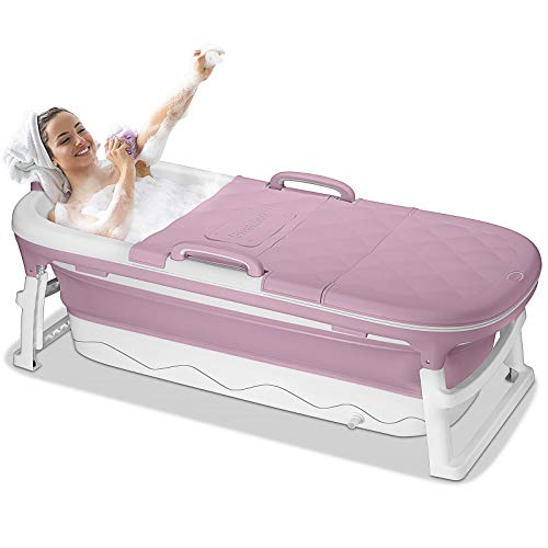54 inches Large Portable Foldable Bathtub Soak 3-Stage Tub for Adult/Children/Toddlers Efficient Maintenance of Temperature Bath Tub SPA & Foot Massage EuroBath Plastic Non-slip Pink