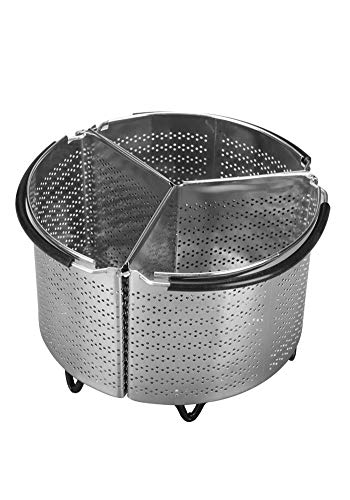 - 3-Piece Divided Steamer Basket for Instant Pot Accessories 6 qt fits InstaPot, Ninja Foodi, Other Pressure Cookers, Strainer Insert for Insta.Vegetable Steamer Insert, Egg Basket, Pasta Strainer