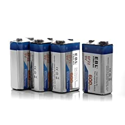 EBL 840 9V Battery Charger with 4 Pack 600mAh Li-ion Rechargeable 9 Volt Batteries