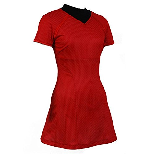 Ya-cos Cosplay Female Starfleet Fleet Uhura Costume Duty Dress Blue/Red -