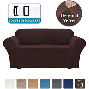 Amazon Com Velvet Plush 1 Piece Stretch Sofa Slipcover