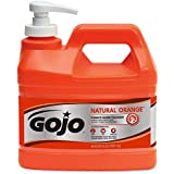 GOJO NATURAL ORANGE Pumice Industrial Hand Cleaner, 1/2 Gallon Quick Acting Lotion Hand Cleaner with Pumice Pump Bottle – 0958-04