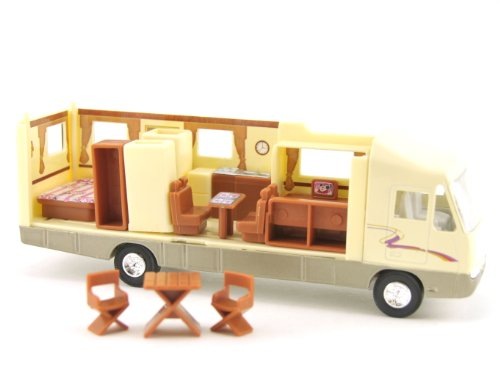 Toy Motorhome, Changeable Interior, Motorized Pull Back Action, 7.5-inch, Recreational Vehicle RV -