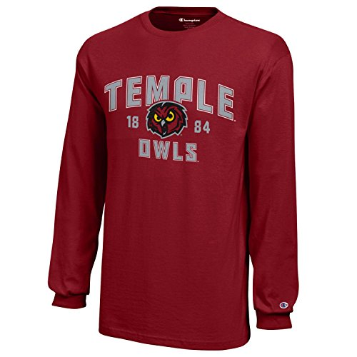 NCAA Champion Boy's Long Sleeve Jersey T-Shirt, Temple Owls, Medium (Owls Basketball)