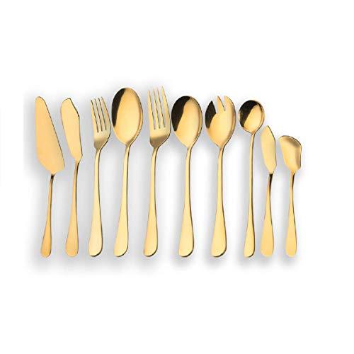 Berglander Stainless Steel Golden Serving Flatware Set, Golden Serving Silverware Set, Cake Server, Fish Knife, Fish Fork, Serving Spoon, Serving Fork, Salad Spoon, Salad Fork, Butter Knife, Icecream