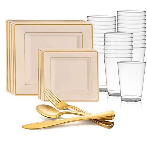 (Disposable Plastic Dinnerware Set for 60 Guests - Includes Fancy Square Ivory & Gold Dinner Plates, Dessert/Salad Plates, Silverware Set/Cutlery & Cups For Wedding, Birthday Party & Other Occasions)
