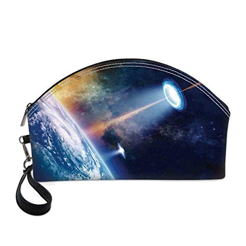 - Outer Space Decor Beautiful Women's semi circular cosmetic bag,Ufo Shines Spotlight on Earth Secret Experiment Climate Change Terrestrial Fiction For traveling,10.8
