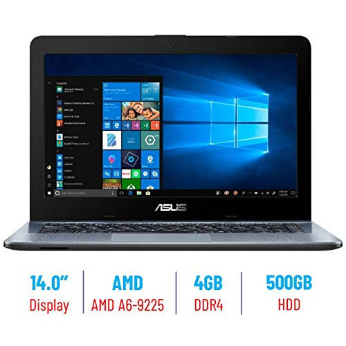 "2019 Asus 14"" HD backlight Display Laptop PC, AMD A6-9225 2.6GHz APU, 4GB DDR4 SDRAM, Stereo speakers, USB 3.0, HDMI, WiFi, Bluetooth, Windows 10, 500GB SATA Hard Drive"
