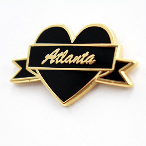 Atlanta Pin (City Pins - Atlanta Lapel Pin by Real Sic – Black & Gold Heart Shaped Enamel Pin – Atlanta Souvenir Pin)