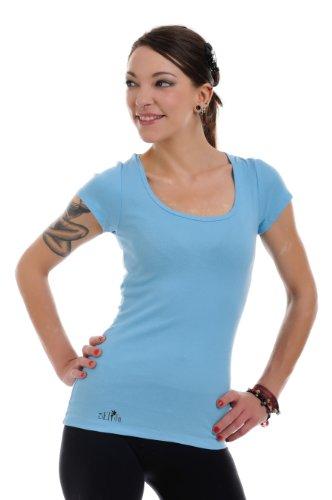de azul 3 marino para camiseta corta Camisa redondo manga mujer cuello para dama con EvxvwnqUPr
