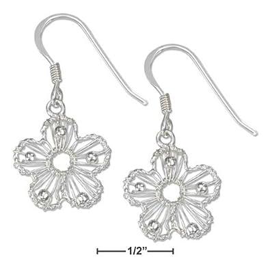 Sterling-Silberdraht umwickelt Ohrringe Blume mit Perlen ...