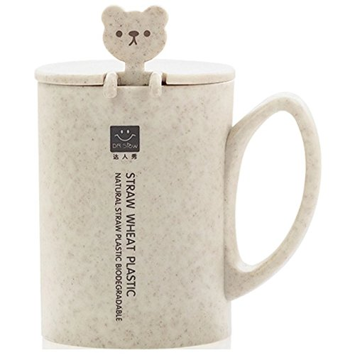 Cute Mugs for Women and Men   Cup for Kids   Bear Lovers   Wheat Straw, Eco-Friendly, Unbreakable and Resistant   Mug with Lid and Spoon for Coffee, Tea, Milk   Large 15oz Mug   Perfect Lovely Gift