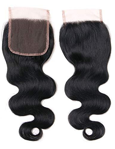 Lanyi 16 inch Brazilian Body Wave Lace Closure Free Part Virgin Human Hair Closure Natural Black 1b 130% Density 4x4 Lace