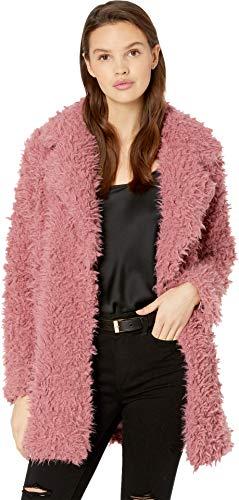 Romeo & Juliet Couture Women's Fuzzy Faux Fur Coat Vintage Rose Large -