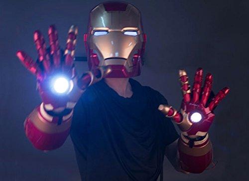 Gmasking Electronic MK42 Iron Man Wrist Armor Gauntlet(One Pair),MK42 Helmet 1:1 Replica (Iron Man Cosplay Armor)