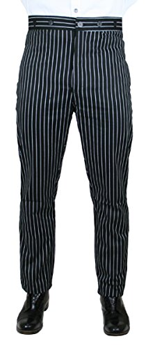 Historical Emporium Men's High Waist Henderson Striped Cotton Dress Trousers 42 Black ()