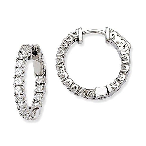 Medium Sterling Silver CZ Inside Out Hinged Hoop Earrings, 0.8 Inch 21mm 3mm Wide