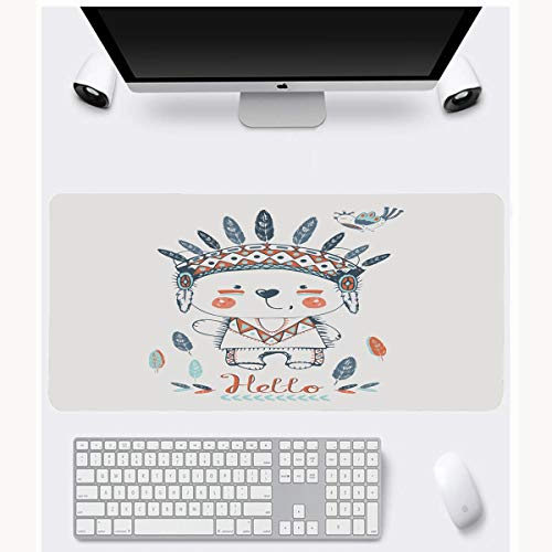 JAMRON Mousepad Oblong 11.8x23.6 Inches Brave Red Boy Cute Indian Bear Headband Vintage Birdhand Baby Kid American Native Non-Slip Rubber Mouse Pad Laptop - Baby Vintage Headbands