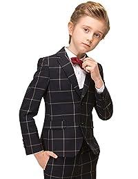 ELPA ELPA Boy's Tuxedo Suit Plaid Slim Fit Dress Wear 5 Pcs Boys Formal Suits Set