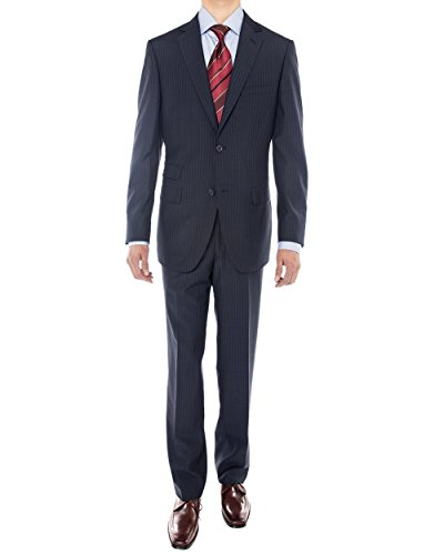 Luciano Natazzi Men's Two Button Side Vent Super 160'S Wool Suit (48 Long US / 58L EU / W 42