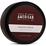 American Shaving Shaving Cream For Men (8oz) - Sandalwood Barbershop Scent - Premium Natural Lathering Wet Shave Soap - Best Men's Shave Cream For Sensitive Skin - Leaves Skin Irritation-Free