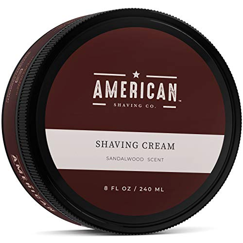 American Shaving Shaving Cream For Men (8oz) - Sandalwood Barbershop Scent - Premium Natural Lathering Wet Shave Soap - Best Men's Shave Cream For Sensitive Skin - Leaves Skin Irritation-Free ()