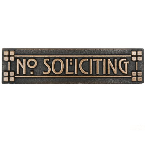 Craftsman Mini Mackintosh No Soliciting Plaque with Lines 8x2 - Raised Bronze Metal Coated ()