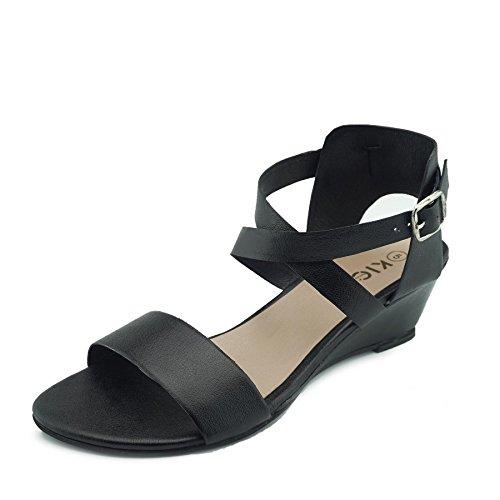 pour Noir confortables compensés Footwear Talons en Sandales femme Kick cuir 8xFvz8