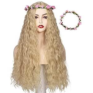 FantaLook Blonde Cosplay Wig with Flower Crown