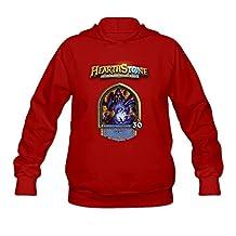 PNHK Women's Hearthstone Heroes Warcraft Gul Hooded Sweatshirt Medium Red