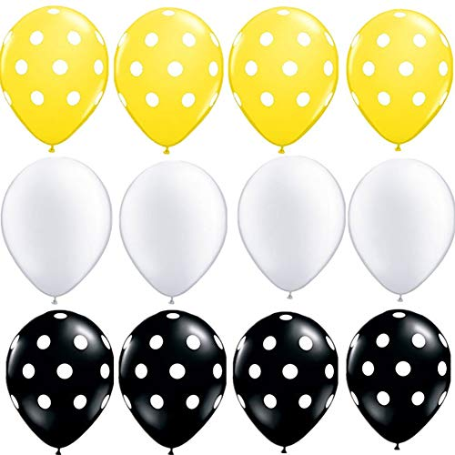 (Bumble Bee Party Decoration 60 Ct Yellow Black Polka Dot Bumblebee Balloon for Honey Bee Themed Baby Bridal Shower Birthday Supplies)
