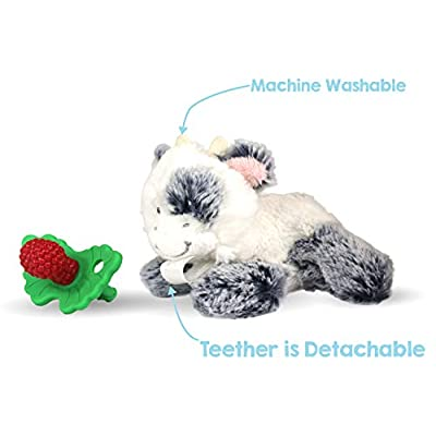 RaZbaby RaZbuddy RaZberry Teether/Pacifier Holder w/Removable Baby Teether Toy - 0M+ - Bpa Free - Cow : Baby