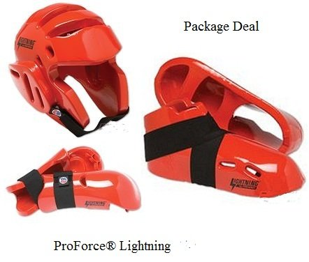 Lightning Red Karate Sparring Gear Package Deal - Child Large by Lightning by Pro Force (Image #1)