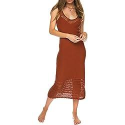 Bestyou Women's Side Split Maxi Dress Crochet Swimwear Cover UPS Swimwear (Rust),Free Size