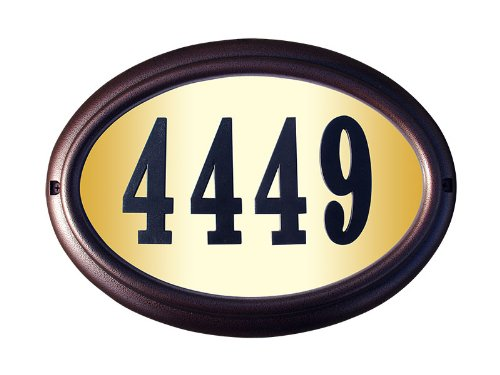 Qualarc LTO-1302AC-PN Edgewood Oval Lighted Address Plaque in Antique Copper Frame Color with 4-Inch Black Polymer Numbers by Qualarc
