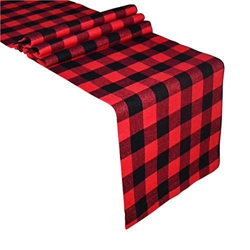 Senneny Buffalo Check Table Runner Cotton Red and Black Plaid Classic Stylish Design for Family Dinner Christmas Holiday Birthday Party Table Home Decoration (14