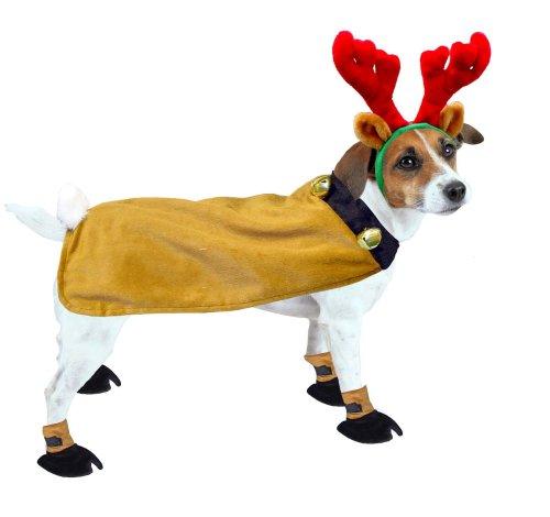Kyjen Dog Reindeer Suit w/Booties and Antlers, Small, My Pet Supplies