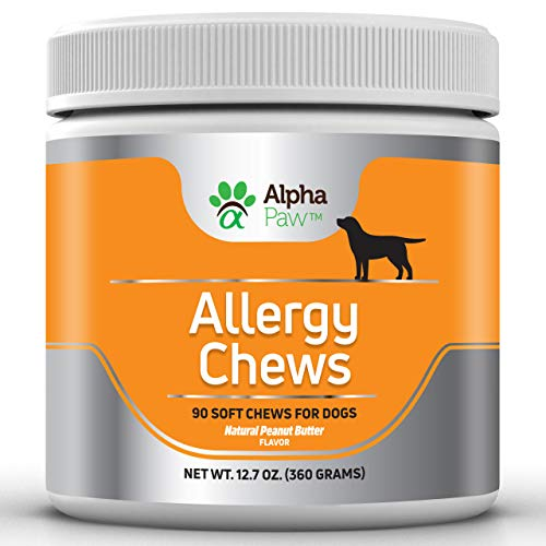 Allergy Multivitamin - Alpha Paw Allergy Chews - Dog Allergy Relief with Krill Oil, Turmeric, Probiotics, Colostrum - Immune Support, Seasonal Allergy, Pet Itch - 360 Grams Approx. 90 Soft Chews