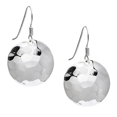 Round Disc Drop (Silverly Women's .925 Sterling Silver Round Hammered 20 mm Disc Dangle Earrings)