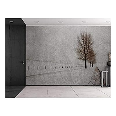 Wall26 - Lone Tree Against an Empty Road with a Fence - Wall Mural, Removable Sticker, Home Decor - 66x96 inches