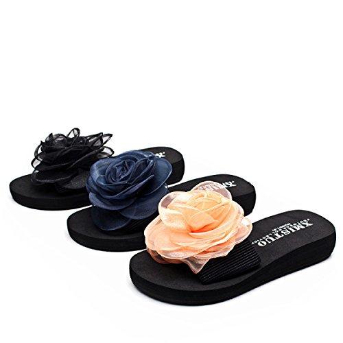 Summer Pantoufles Fleurs GSHGA Sandales flops Flip Beach Black Femme Dentelle New dwaqI