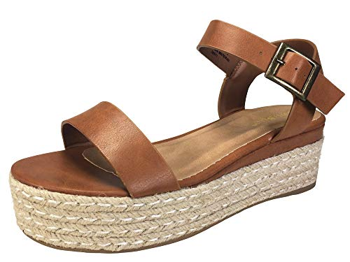 BAMBOO Women's Single Band Espadrilles Platform Sandal with Quarter Strap, Tan, 9.0 B (M) ()
